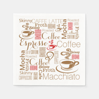 Coffee chic red brown standard cocktail napkin