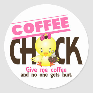 Coffee Chick 4 Round Sticker