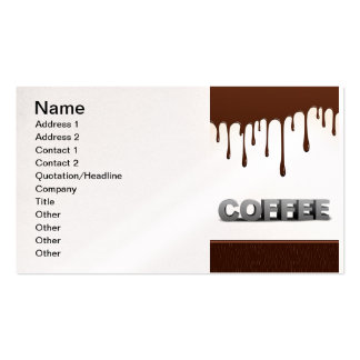COFFEE CHOCOLATE DRIPS YUMMY DELICIOUS WORDS GRAPH BUSINESS CARD TEMPLATE