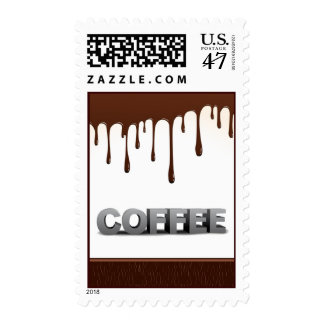 COFFEE CHOCOLATE DRIPS YUMMY DELICIOUS WORDS GRAPH POSTAGE