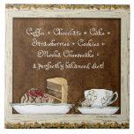 Coffee & Chocolate Java Kitchen Art Dessert Cakes Ceramic Tile