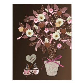 Coffee Chocolate Pink Brown Bridal Shower Invite