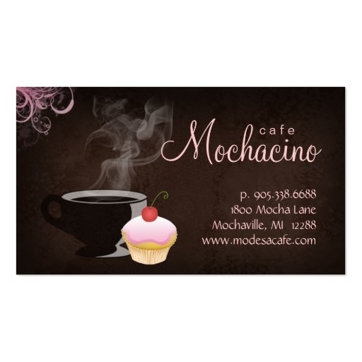 Coffee Club Business Card with muffin pink