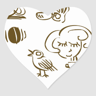 Coffee Coffee Coffee Heart Sticker