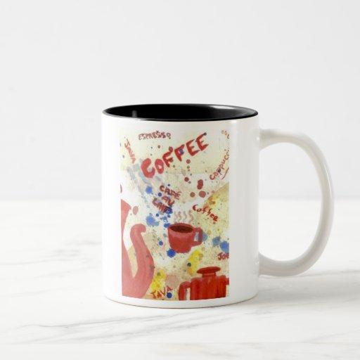 Coffee, Coffee, Coffee - homespun coffee mug Two-Tone Mug