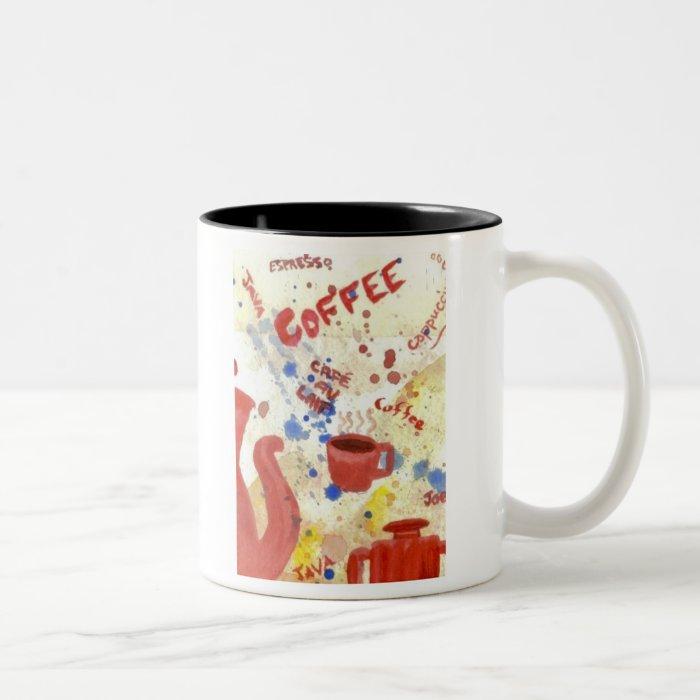 Coffee, Coffee, Coffee - homespun coffee mug