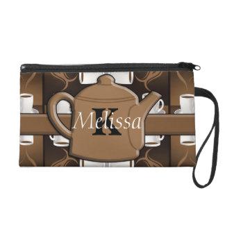 Coffee Coffee Coffee Mosaic Monogram Wristlet