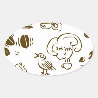 Coffee Coffee Coffee Oval Sticker