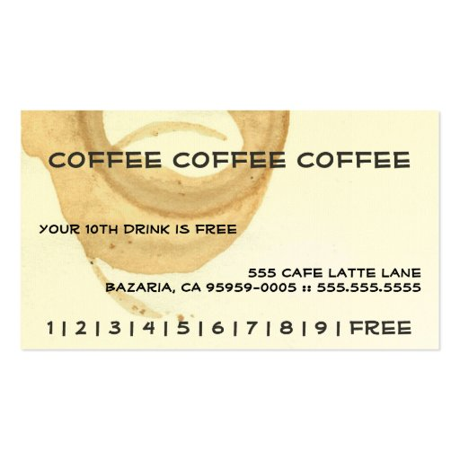 Coffee Coffee Coffee Punch Card Business Card Templates Zazzle ZT48mZTx