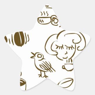 Coffee Coffee Coffee Star Sticker