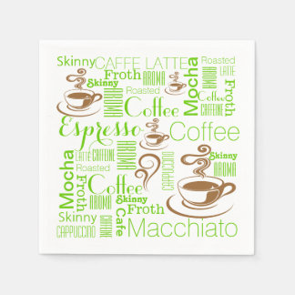 Coffee collage green brown paper napkin
