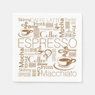 Coffee collage pattern brown white paper napkin