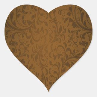 Coffee Color Swirls Heart Sticker