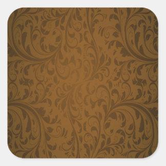 Coffee Color Swirls Square Sticker