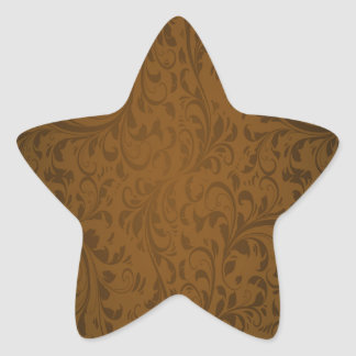 Coffee Color Swirls Star Sticker