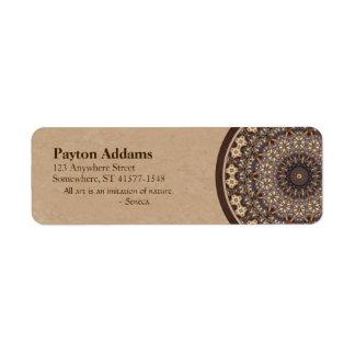 Coffee Colors Abstract Mandala Return Address Label