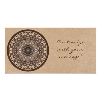 Coffee Colors Abstract Mandala Custom Photo Card