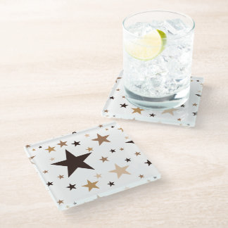 Coffee Colors Stars Glass Coaster