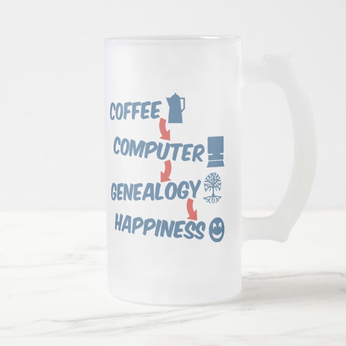 Coffee Computer Genealogy Happiness Frosted Glass Beer Mug