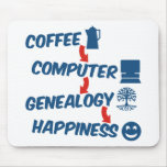 Coffee Computer Genealogy Happiness Mouse Pad