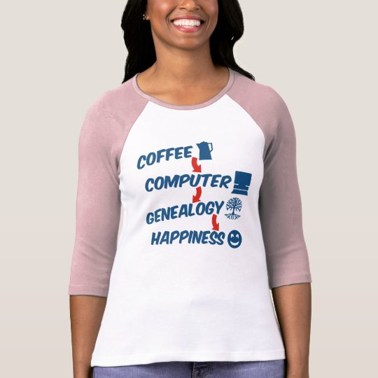 Coffee Computer Genealogy Happiness T-Shirt