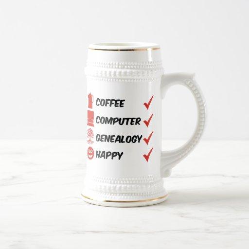 Coffee Computer Genealogy Happy 18 Oz Beer Stein