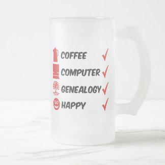 Coffee Computer Genealogy Happy Frosted Glass Beer Mug