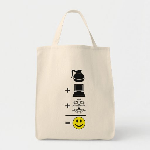 Coffee Computer Genealogy Happy Grocery Tote Bag
