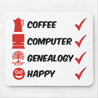 Coffee Computer Genealogy Happy Mouse Pad