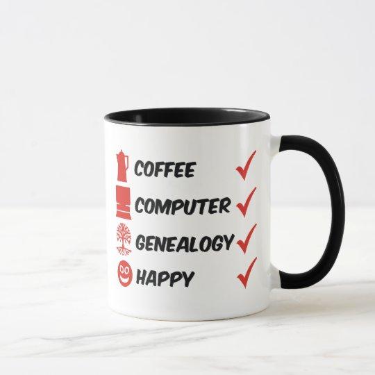 Coffee Computer Genealogy Happy Mug