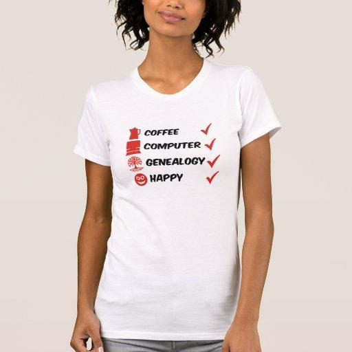 Coffee Computer Genealogy Happy T-Shirt