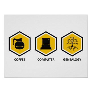 Coffee Computer Genealogy Poster