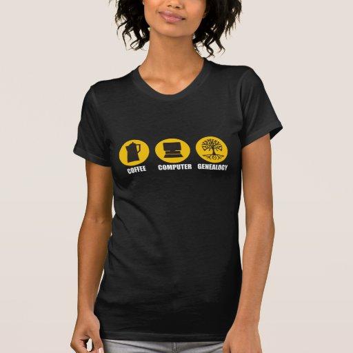 Coffee Computer Genealogy Tee Shirts