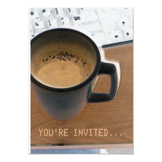 Coffee & Computer Keyboard Invitation Template