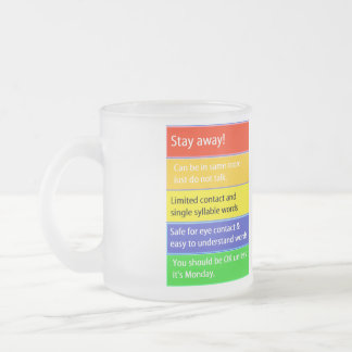 Coffee Consumption Threat Levels Frosted Glass Coffee Mug