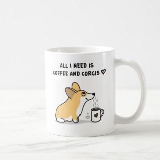Coffee & Corgis [red&white] Coffee Mugs