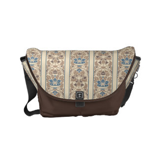 Coffee, cream and blue floral stripes small messenger bag
