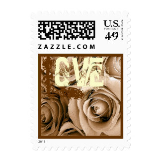 Coffee Cream & Chocolate Love Roses Wedding Stamp