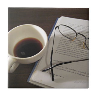 Coffee Cup and Book Ceramic Tile