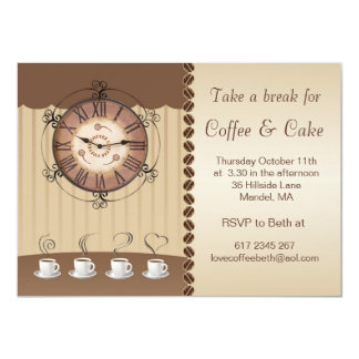 Coffee, cup and clock Party Invitation