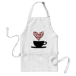 Coffee Cup and Coffee Bean Heart. Adult Apron
