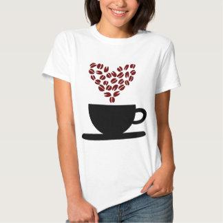 Coffee Cup and Coffee Bean Heart. Tee Shirts