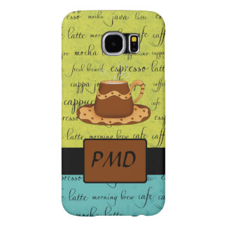 Coffee Cup Art Green Turquoise Script and Monogram Samsung Galaxy S6 Case