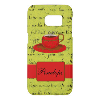Coffee Cup Art Words Green Red Name Personalized Samsung Galaxy S7 Case