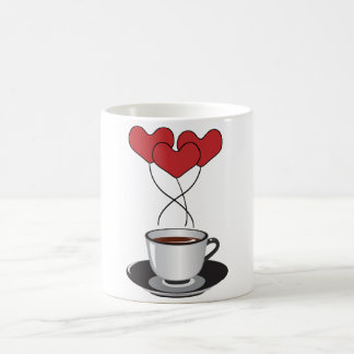 Coffee Cup, Balloons, Hearts - Red White Black Coffee Mug