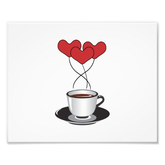 Coffee Cup, Balloons, Hearts - Red White Black Photo Print