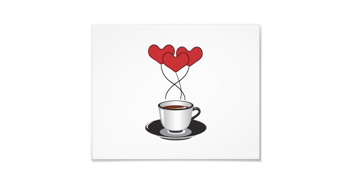 Coffee Cup Balloons Hearts Red White Black Photo Print