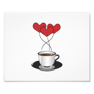 Coffee Cup, Balloons, Hearts - Red White Black Art Photo