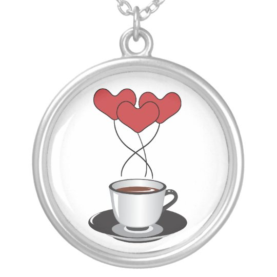Coffee Cup, Balloons, Hearts - Red White Black Silver Plated Necklace