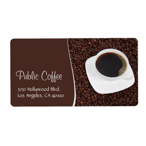 Coffee Cup & Beans Address Label